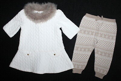 JANIE & JACK Swiss Chalet Quilted Faux Fur Dress & Leggings Set Girl 12-18 Month