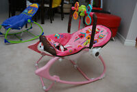 Fisher Price Pink Owl Baby Rocker / Chair