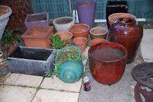 Mixed lot of aged terracotta + glazed garden planter pots Panania Bankstown Area Preview