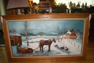 VERY LARGE SIGNED FRAMED ORIGINAL OIL ON CANVAS PAINTING WINTER