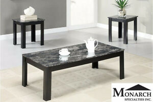 Brand NEW Black Marble 3PC Coffee Table Set! Call 306-347-3311!
