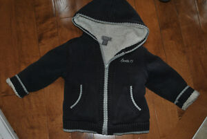 Roots Brand Knit Sweater Style Lined Hooded Jacket Navy/Grey 2T