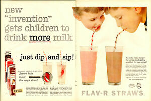 1957 extra large color magazine ad for Flav-R Straws