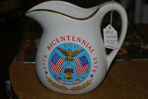 STAMPED McCoy Pottery Milk Pitcher - MINT Bicentennial 1776 USA Windsor Region Ontario image 1