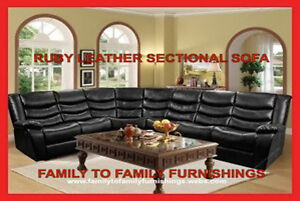 **LABOUR DAY SALE** RUBY LEATHER SECTIONAL SOFA