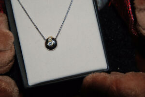 DIAMOND PENDANT,WHITE GOLD, W CHAIN, 14KT. PD$675,PRISTINE