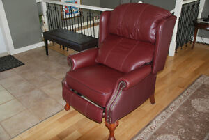 Beautiful high end leather wingback chair