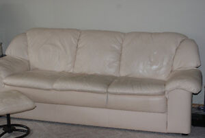 Cream colored leather Couch, Love Seat & Foot rest