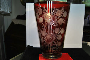 Antique Bohemian Crystal Ruby Red Cut Vase