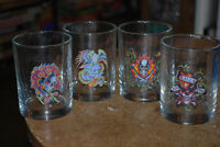 "MINT SET OF FOUR ED HARDY GLASSES  ""Love Kills Slowly"" Tattoos"