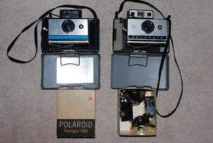 Lot of 2 Vintage Polaroid Camera's and 2 Flashes Kitchener / Waterloo Kitchener Area image 1