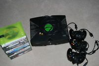 Original Xbox with controllers and games