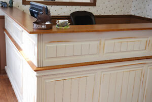 CUSTOM MADE SOLID WORMY MAPLE DISTRESSED OFFICE RECEPTION DESK