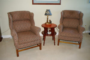 US MADE PAIR OF MATCHING WING CHAIRS