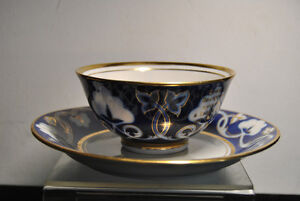 Old  Porcelain Tea cup and saucer Cobalt Net 22K Gold