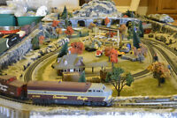 Large H.O. train layout with tons of accesories