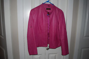 danier pink leather jacket M