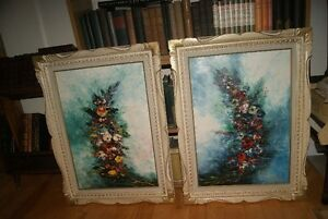 2 original oil on canvas paintings - Flowers by L. Leroux