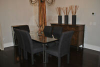 Dining Room Table and 6 Parson Chairs