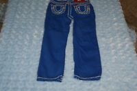 TRUE RELIGION ROYAL BLUE JEANS/ WHITE STITCHING  SIZE 4 Years