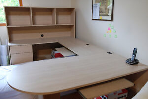 Modular Desk with Conference Table & Bookshelf