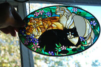 "Suncatcher by Joan Baker Designs Tiffany Cats ""Stained Glass"""