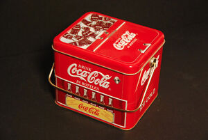 Coca Cola Tin Box, Ice Chest with Printed Coke Bottles