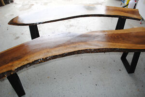LIVE EDGE CURLY WALNUT BENCHES