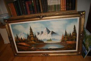 Large 20x40 oil on canvas landscape painting mountain lake