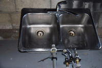 Kitchen Sink with Faucet and Bathroom Faucet