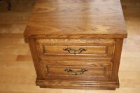 Vintage night stand or end table with 2 drawers oak finish