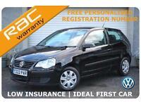 2009 Volkswagen Polo 1.2 E Petrol 3 Door Black -FREE Personal Registration No.