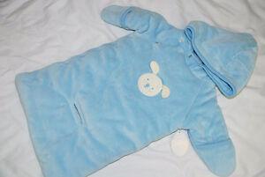 Baby Boy Blue 0-3 month Snowsuit Car Bag, puppy