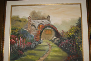 BEAUTIFUL VINTAGE 16X20 OIL ON CANVAS PAINTING HOUSE WITH GARDEN West Island Greater Montréal image 4