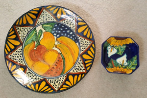 Mexican pottery platter and dish