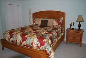 **High Quality Rattan King bed with large dresser** , wall mirro