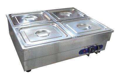 4-pan Counter Top Warmer Bain-marie Buffet Steam Cooking Table Food Warmer