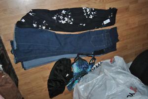 women maternity jeans, 2 speedo swim suites, 1 new wrap skirt