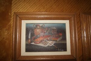SMALL VINTAGE L. HABADY ORIGINAL OIL ON BOARD STILL LIFE WITH VI
