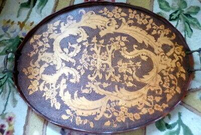 STUNNING Antique Large Wood Tea Tray Art Nouveau PYROGRAPHY Flemish Art