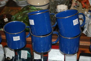 Camping? FIVE NEW Enamelware Mugs + OTHER VINTAGE PIECES AVAIL.