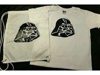 Star wars Darth Vadar gym sack and t-shirt (age 7-8 years)