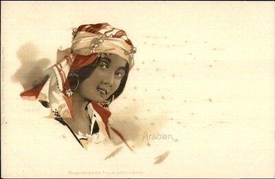Beautiful Arab Arabian Woman Head Scarf Earrings c1900 Postcard](Beautiful Arabian Womens)