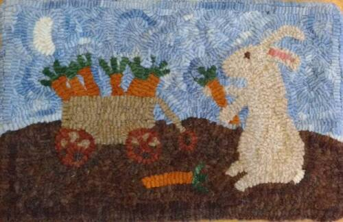 Primitive rug hooking kit, hooked, carrot bunny, linen, wool