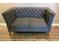Descartes 2 Seat Sofa Harbour Grey Deep Tufting Buttons English Oak Legs Castors