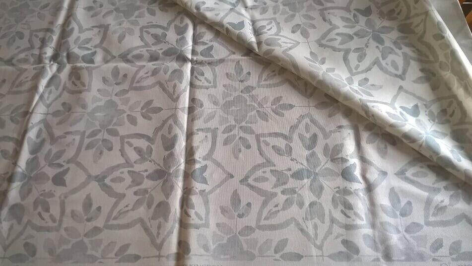 Brand New 100 Cotton Grey White Print Fabric Measures