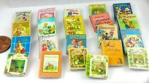 21-CHILDRENS-VINTAGE-Style-MINIATURE-Books-DOLLHOUSE-1-12-scale-Prop-Books