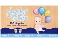Cheeky Bots size 5 nappies one month supply