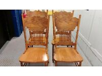 4 dining chairs, solid oak,carved back,sturdy,no carver,match my round table