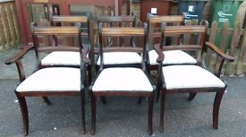 6 Regency dining chairs, solid Mahogany, carved, stable, clean cushion, very good condition